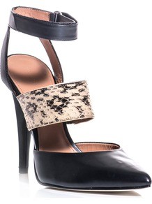 Brielle Shoes - secondary colour: ivory; predominant colour: black; occasions: evening, work, occasion; material: leather; heel height: high; ankle detail: ankle strap; heel: stiletto; toe: pointed toe; style: mules; finish: plain; pattern: animal print