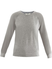 Silky Sleeve Sweatshirt - neckline: round neck; pattern: plain; style: t-shirt; predominant colour: light grey; occasions: casual; length: standard; fibres: cotton - 100%; fit: straight cut; sleeve length: long sleeve; sleeve style: standard; pattern type: fabric; pattern size: standard; texture group: jersey - stretchy/drapey