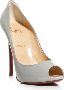 Flo 120mm Open Toe Pumps - predominant colour: light grey; occasions: evening, work, occasion; material: leather; heel height: high; heel: stiletto; toe: open toe/peeptoe; style: courts; finish: patent; pattern: plain