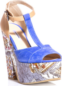 Paris Print T Bar Wedges - predominant colour: diva blue; secondary colour: camel; occasions: casual, evening, occasion, holiday; material: suede; ankle detail: ankle strap; heel: platform; toe: open toe/peeptoe; style: standard; trends: statement prints; finish: plain; pattern: patterned/print; heel height: very high