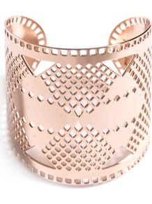 Modern Tribal Cuff Bracelet - predominant colour: gold; occasions: evening, work, occasion, holiday; style: cuff; size: large/oversized; material: chain/metal; trends: metallics; finish: metallic