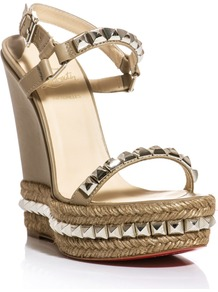 Cataclou 140mm Studded Sandals - predominant colour: stone; secondary colour: silver; occasions: casual, evening, occasion, holiday; material: leather; embellishment: studs; ankle detail: ankle strap; heel: platform; toe: open toe/peeptoe; style: strappy; trends: metallics; finish: plain; pattern: plain; heel height: very high