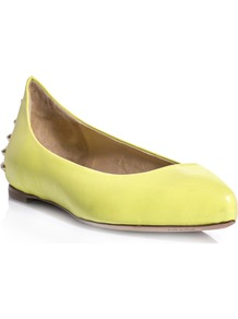 Studded Leather Flats - predominant colour: yellow; secondary colour: gold; occasions: casual, evening, work, holiday; material: leather; heel height: flat; embellishment: studs; toe: pointed toe; style: ballerinas / pumps; finish: plain; pattern: plain