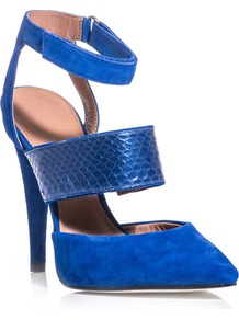 Birelle Shoes - predominant colour: diva blue; occasions: evening, work, occasion, holiday; material: suede; heel height: high; ankle detail: ankle strap; heel: stiletto; toe: pointed toe; style: slingbacks; trends: fluorescent; finish: plain; pattern: plain