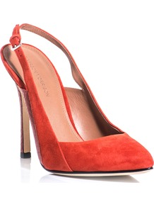 Monte Shoes - predominant colour: true red; occasions: evening, work, occasion; material: suede; heel height: high; heel: stiletto; toe: pointed toe; style: slingbacks; finish: plain; pattern: animal print