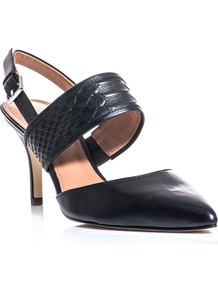 Skye Shoes - predominant colour: black; occasions: evening, work, occasion; material: leather; heel height: high; heel: stiletto; toe: pointed toe; style: slingbacks; finish: plain; pattern: animal print