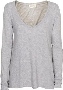 Jac52 Long Sleeve Tee In Heather Grey - pattern: plain; style: t-shirt; predominant colour: light grey; occasions: casual, work; length: standard; neckline: scoop; fibres: cotton - 100%; fit: loose; sleeve length: long sleeve; sleeve style: standard; pattern type: fabric; pattern size: standard; texture group: jersey - stretchy/drapey