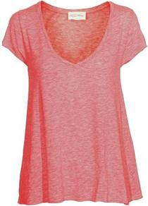 Jac51 Short Sleeve Tee In Candy - neckline: v-neck; sleeve style: capped; pattern: plain; style: t-shirt; predominant colour: pink; occasions: casual; length: standard; fibres: cotton - 100%; fit: loose; sleeve length: short sleeve; pattern type: fabric; texture group: jersey - stretchy/drapey