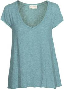 Jac51 Short Sleeve Tee In Pool - neckline: v-neck; pattern: plain; style: t-shirt; predominant colour: turquoise; occasions: casual; length: standard; fibres: cotton - 100%; fit: loose; sleeve length: short sleeve; sleeve style: standard; pattern type: fabric; texture group: jersey - stretchy/drapey
