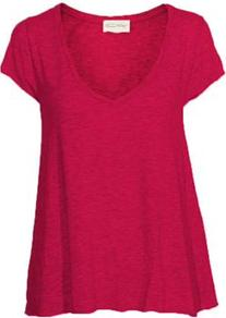 Jac51 Short Sleeve Tee In Peony - sleeve style: capped; pattern: plain; style: t-shirt; predominant colour: hot pink; occasions: casual, holiday; length: standard; neckline: scoop; fibres: cotton - mix; fit: loose; sleeve length: short sleeve; pattern type: fabric; texture group: jersey - stretchy/drapey
