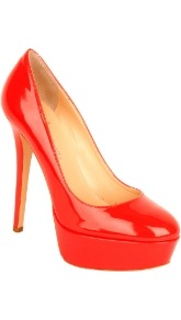 Daniel Morzilla Court - predominant colour: true red; occasions: evening, work, occasion; material: leather; heel height: high; heel: platform; toe: round toe; style: courts; finish: patent; pattern: plain
