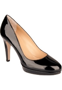 Daniel Amphibian Court - predominant colour: black; occasions: evening, work, occasion; material: leather; heel height: high; heel: stiletto; toe: round toe; style: courts; finish: patent; pattern: plain