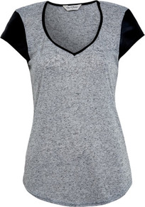 Grey Pu Cap Sleeve Tee - neckline: v-neck; sleeve style: capped; style: t-shirt; shoulder detail: contrast pattern/fabric at shoulder; predominant colour: mid grey; occasions: casual, evening; length: standard; fibres: polyester/polyamide - mix; fit: straight cut; sleeve length: short sleeve; pattern type: fabric; pattern size: small &amp; light; pattern: colourblock; texture group: jersey - stretchy/drapey