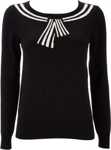 Petite Sailor Collar Jumper - neckline: round neck; pattern: plain; style: standard; hip detail: fitted at hip; shoulder detail: contrast pattern/fabric at shoulder; predominant colour: black; occasions: casual, work; length: standard; fibres: cotton - 100%; fit: standard fit; sleeve length: long sleeve; sleeve style: standard; texture group: knits/crochet; pattern type: knitted - fine stitch; pattern size: big &amp; light