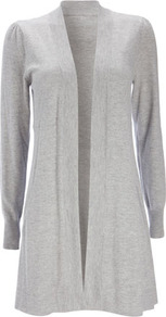 Grey Longline Waist Cardigan - neckline: collarless open; style: open front; predominant colour: light grey; occasions: casual, work, occasion; fibres: nylon - mix; fit: loose; length: mid thigh; sleeve length: long sleeve; sleeve style: standard; texture group: knits/crochet; pattern type: knitted - fine stitch