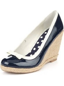 Front Bow Espadrille Wedge Shoes - predominant colour: navy; occasions: casual, evening, work, holiday; material: faux leather; heel height: high; heel: wedge; toe: round toe; style: courts; finish: patent; pattern: colourblock; embellishment: bow