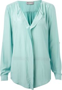 Women's The Shirt, Aqua - neckline: v-neck; pattern: plain; style: blouse; predominant colour: turquoise; occasions: casual, evening, work; length: standard; fibres: polyester/polyamide - 100%; fit: loose; sleeve length: long sleeve; sleeve style: standard; texture group: sheer fabrics/chiffon/organza etc.; pattern type: fabric