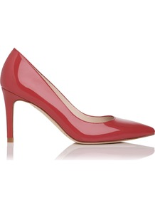 Florete Closed Court, Red - predominant colour: true red; occasions: casual, evening, work, occasion; material: leather; heel height: high; heel: stiletto; toe: pointed toe; style: courts; finish: patent; pattern: plain