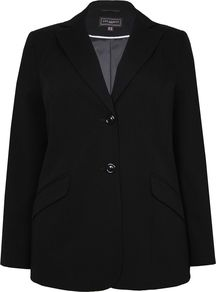 Women&#x27;s Black Flock Spot Jacket, Black - pattern: plain; style: single breasted blazer; collar: standard lapel/rever collar; predominant colour: black; occasions: work; length: standard; fit: tailored/fitted; fibres: polyester/polyamide - mix; back detail: back vent/flap at back; sleeve length: long sleeve; sleeve style: standard; collar break: medium; pattern type: fabric; texture group: woven light midweight