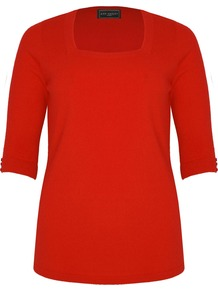 Women&#x27;s Red Soft Touch Square Neck Jumper, Red - neckline: high square neck; pattern: plain; style: standard; predominant colour: true red; occasions: casual, work; length: standard; fibres: acrylic - 100%; fit: standard fit; sleeve length: half sleeve; sleeve style: standard; pattern type: fabric; pattern size: standard; texture group: jersey - stretchy/drapey