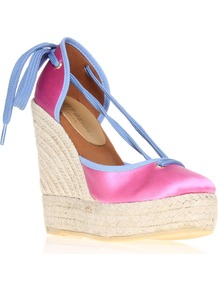 Keates Wedge Espadrille Shoes, Pink - predominant colour: hot pink; occasions: casual, evening, holiday; material: satin; heel height: high; ankle detail: ankle tie; heel: wedge; toe: round toe; style: courts; finish: plain; pattern: colourblock