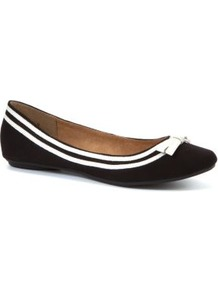 Black And White Patent Detail Ballet Pumps - secondary colour: white; predominant colour: black; occasions: casual, evening, work, holiday; material: faux leather; heel height: flat; toe: round toe; style: ballerinas / pumps; finish: plain; pattern: two-tone; embellishment: bow