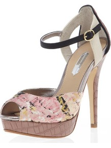 Two Part High Platform Sandals - occasions: evening, work, occasion; predominant colour: multicoloured; material: fabric; heel height: high; embellishment: buckles; ankle detail: ankle strap; heel: platform; toe: open toe/peeptoe; style: standard; finish: plain; pattern: florals