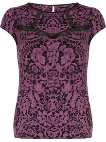 Purple Lace Print Insert Top - neckline: round neck; sleeve style: capped; predominant colour: magenta; occasions: casual, evening, work, occasion; length: standard; style: top; fibres: polyester/polyamide - 100%; fit: body skimming; back detail: keyhole/peephole detail at back; sleeve length: short sleeve; texture group: lace; trends: statement prints; pattern type: fabric; pattern size: big &amp; busy; pattern: patterned/print