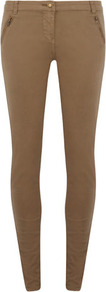 Khaki Zip Pocket Trouser - length: standard; pattern: plain; style: leggings; waist detail: fitted waist; pocket detail: large back pockets; waist: mid/regular rise; predominant colour: taupe; occasions: casual, work; fibres: cotton - stretch; texture group: cotton feel fabrics; fit: skinny/tight leg; pattern type: fabric; pattern size: standard