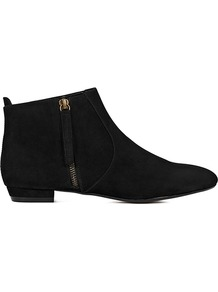 Lara Flat Suede Ankle Boots - predominant colour: black; occasions: casual, evening, work; material: suede; heel height: flat; embellishment: zips; heel: standard; toe: pointed toe; boot length: ankle boot; style: standard; finish: plain; pattern: plain