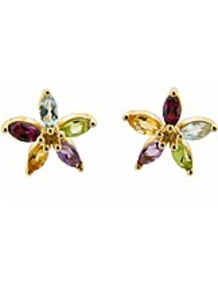 9ct Yg Multi Stone Flower Stud Earrings - occasions: casual, evening, work, occasion; predominant colour: multicoloured; style: stud; length: short; size: small; material: chain/metal; fastening: pierced; finish: plain; embellishment: jewels