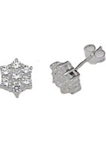 Sterling Silver Cz Cluster Stud Earrings - predominant colour: silver; occasions: casual, evening, work, occasion; style: stud; length: short; size: small; material: chain/metal; fastening: pierced; trends: metallics; finish: metallic; embellishment: crystals