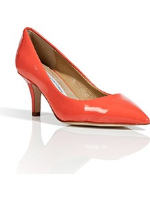 Peach Nectar Patent Leather Anette Pumps - predominant colour: bright orange; occasions: evening, work, occasion; material: leather; heel height: mid; heel: stiletto; toe: pointed toe; style: courts; finish: patent; pattern: plain