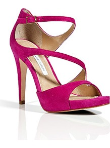 Fuchsia Suede Jujette Sandals - predominant colour: hot pink; occasions: evening, occasion, holiday; material: suede; ankle detail: ankle strap; heel: stiletto; toe: open toe/peeptoe; style: strappy; finish: plain; pattern: plain; heel height: very high