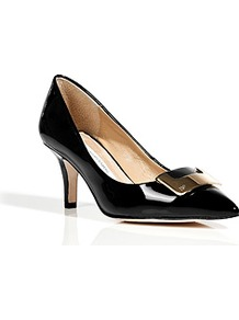 Black Patent Leather Adara Pumps - predominant colour: black; occasions: evening, work; material: leather; heel height: mid; embellishment: buckles; heel: stiletto; toe: pointed toe; style: courts; finish: patent; pattern: plain