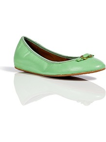 Green Haze Leather Bion Ballerinas - predominant colour: mint green; occasions: casual, work; material: leather; heel height: flat; embellishment: snaffles; toe: round toe; style: ballerinas / pumps; finish: patent; pattern: plain