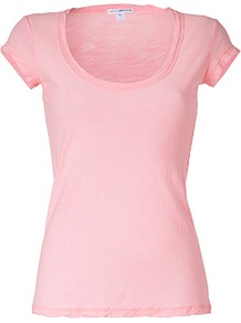 Peony Cap Sleeve Scoop Neck Cotton T Shirt - pattern: plain; style: t-shirt; predominant colour: blush; occasions: casual, holiday; length: standard; neckline: scoop; fibres: cotton - 100%; fit: body skimming; sleeve length: short sleeve; sleeve style: standard; pattern type: fabric; texture group: jersey - stretchy/drapey