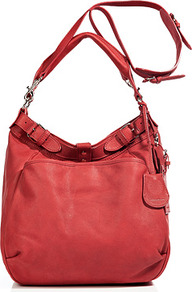 Vermillon Leather Hobo With Shoulder Strap - predominant colour: true red; occasions: casual; type of pattern: standard; style: shoulder; length: shoulder (tucks under arm); size: standard; material: leather; pattern: plain; finish: plain; embellishment: buckles