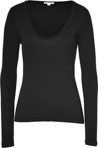 Black Long Sleeve Scoop Neck Cotton T Shirt - pattern: plain; style: t-shirt; predominant colour: black; occasions: casual; length: standard; neckline: scoop; fibres: cotton - 100%; fit: body skimming; sleeve length: long sleeve; sleeve style: standard; pattern type: fabric; texture group: jersey - stretchy/drapey