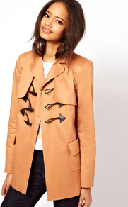 Swing Duffle Coat - pattern: plain; length: below the bottom; hip detail: side pockets at hip; style: duffle coat; collar: standard lapel/rever collar; predominant colour: camel; occasions: casual; fit: straight cut (boxy); fibres: cotton - stretch; back detail: back vent/flap at back; sleeve length: long sleeve; sleeve style: standard; texture group: cotton feel fabrics; collar break: medium; pattern type: fabric