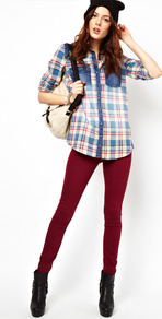 Molly Jean Skinny In Berry - style: skinny leg; length: standard; pattern: plain; pocket detail: traditional 5 pocket; waist: mid/regular rise; predominant colour: burgundy; occasions: casual; fibres: cotton - mix; texture group: denim; pattern type: fabric