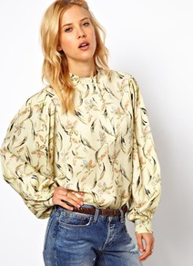 Smock Top In Floral Feather Print - neckline: high neck; style: smock; sleeve style: balloon; occasions: casual, evening, work; length: standard; fibres: polyester/polyamide - 100%; fit: straight cut; predominant colour: multicoloured; sleeve length: long sleeve; pattern type: fabric; pattern size: small &amp; busy; pattern: florals; texture group: other - light to midweight
