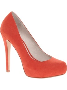 Cadbury Platform Orange Court Shoes - predominant colour: bright orange; occasions: evening, work, occasion; material: fabric; heel height: high; heel: platform; toe: round toe; style: courts; trends: fluorescent; finish: plain; pattern: plain