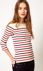 Hilfiger Denim Alternative Striped Top - neckline: round neck; pattern: horizontal stripes; predominant colour: white; occasions: casual; length: standard; style: top; fibres: cotton - 100%; fit: body skimming; sleeve length: 3/4 length; sleeve style: standard; texture group: cotton feel fabrics; trends: striking stripes; pattern type: fabric; pattern size: standard