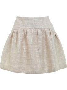 Cream Boucle Full Frill Skirt - length: mid thigh; pattern: plain; style: full/prom skirt; fit: loose/voluminous; waist: high rise; waist detail: twist front waist detail/nipped in at waist on one side/soft pleats/draping/ruching/gathering waist detail; predominant colour: ivory; occasions: casual, evening, work; fibres: polyester/polyamide - 100%; trends: volume; pattern type: fabric; pattern size: standard; texture group: other - light to midweight