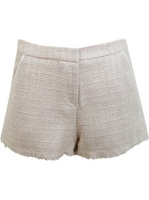 Cream Boucle Short - style: shorts; pocket detail: small back pockets, pockets at the sides; pattern: herringbone/tweed; length: short shorts; waist: mid/regular rise; predominant colour: ivory; occasions: casual, evening, work; fibres: polyester/polyamide - 100%; hip detail: fitted at hip (bottoms); fit: slim leg; pattern type: fabric; pattern size: standard; texture group: tweed - light/midweight