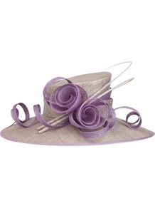 Lavender Occasion Hat - predominant colour: lilac; occasions: evening, occasion; type of pattern: light; style: brimmed; size: large; material: macrame/raffia/straw; pattern: plain