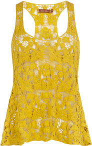Yellow Crochet Vest Top - sleeve style: standard vest straps/shoulder straps; style: vest top; back detail: racer back/sports back; predominant colour: yellow; occasions: casual; length: standard; neckline: scoop; fibres: cotton - 100%; fit: loose; sleeve length: sleeveless; texture group: lace; pattern type: fabric