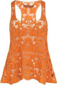 Orange Crochet Vest Top - sleeve style: standard vest straps/shoulder straps; pattern: plain; style: vest top; back detail: racer back/sports back; predominant colour: bright orange; occasions: casual; length: standard; neckline: scoop; fibres: cotton - 100%; fit: loose; sleeve length: sleeveless; texture group: lace; trends: fluorescent; pattern type: fabric
