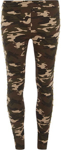 Green Camouflage Trousers - waist detail: fitted waist; pocket detail: large back pockets; waist: mid/regular rise; predominant colour: khaki; occasions: casual; length: ankle length; fibres: cotton - 100%; hip detail: fitted at hip (bottoms); texture group: cotton feel fabrics; trends: statement prints; fit: skinny/tight leg; pattern type: fabric; pattern size: big &amp; busy; pattern: patterned/print; style: standard